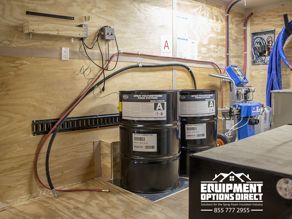 Insulated Custom Spray Foam Insulation Trailer With in-floor Chemical Drum Heaters.