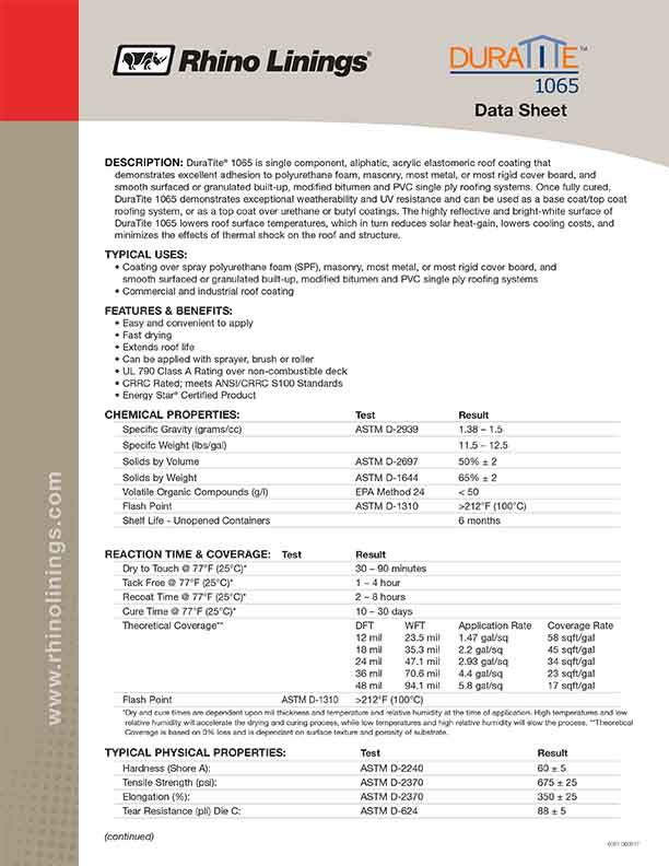 Rhino Roofing – Duratite DATA SHEETS – Equipment Options Direct